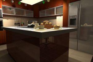 Placa vitrocerámica de inducción en isla central de cocina