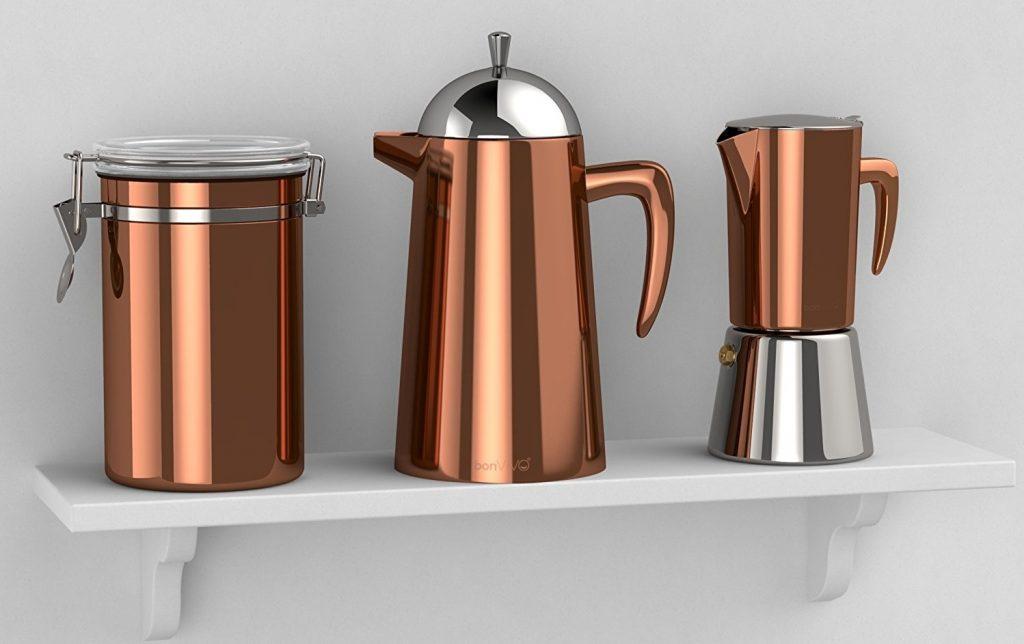 Cafetera italiana Bonvivo Intenca con acabado en cobre