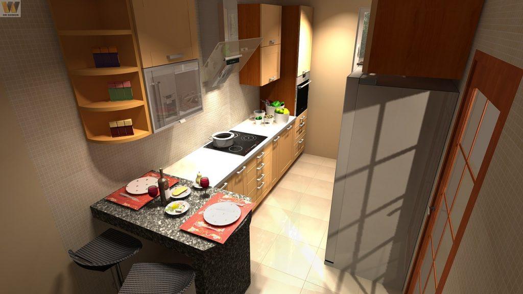 Cocina con placa vitrocerámica moderna